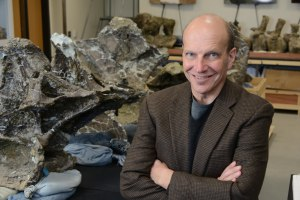 Kenneth Lacovara, PhD with Dreadnoughtus schrani fossils.